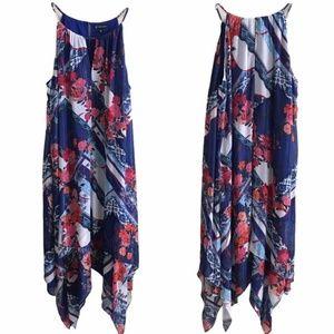 INC Flowy Abstract Print Handkerchief Dress 2X